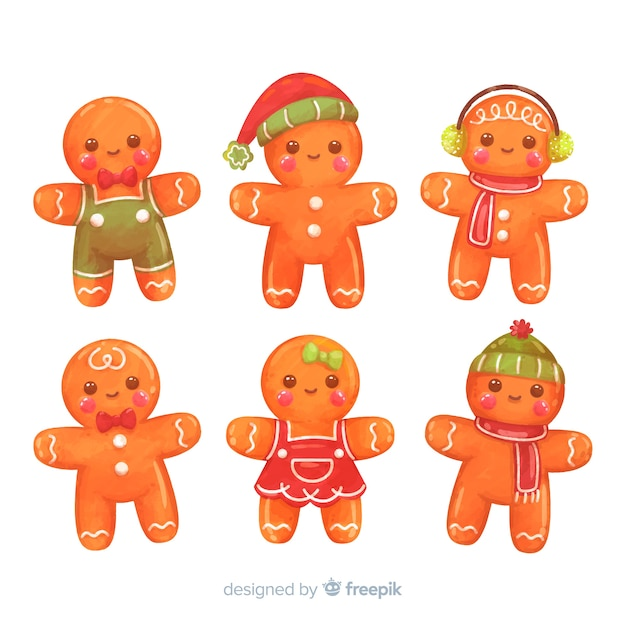 Gingerbread man collectie Gratis Vector