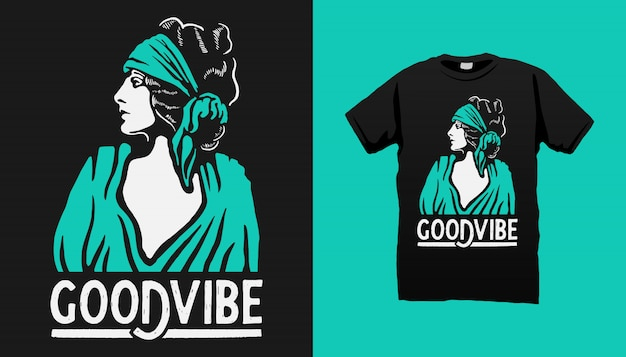 Gipsy woman tshirt design met quotes Premium Vector