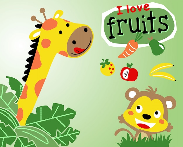 Giraf en aap cartoon met fruit Premium Vector