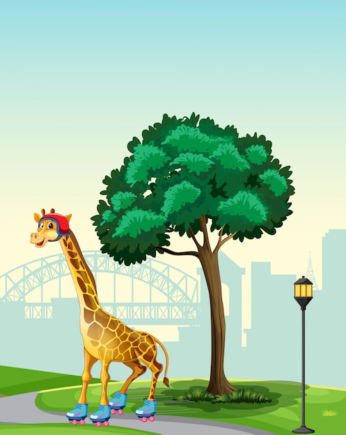 Giraf in parkscène Gratis Vector