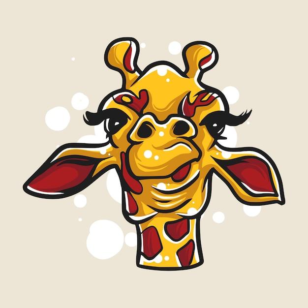 Giraffe cartoons hoofd afbeelding Premium Vector