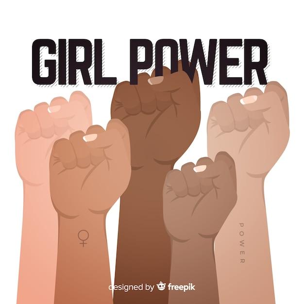 Girl power achtergrond Gratis Vector