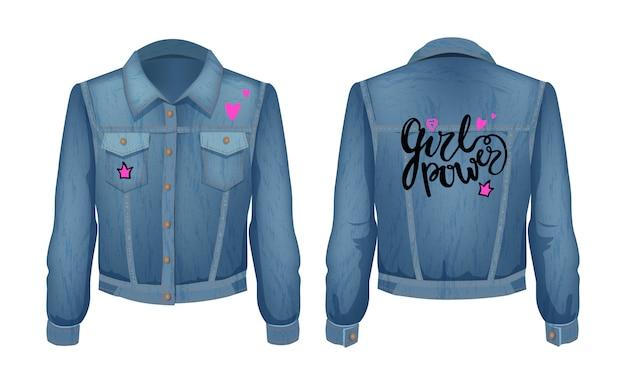 Girl power denim jas patch Premium Vector