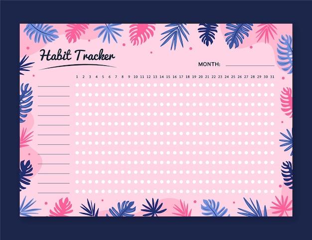 Girly gewoonte tracker-sjabloon Gratis Vector