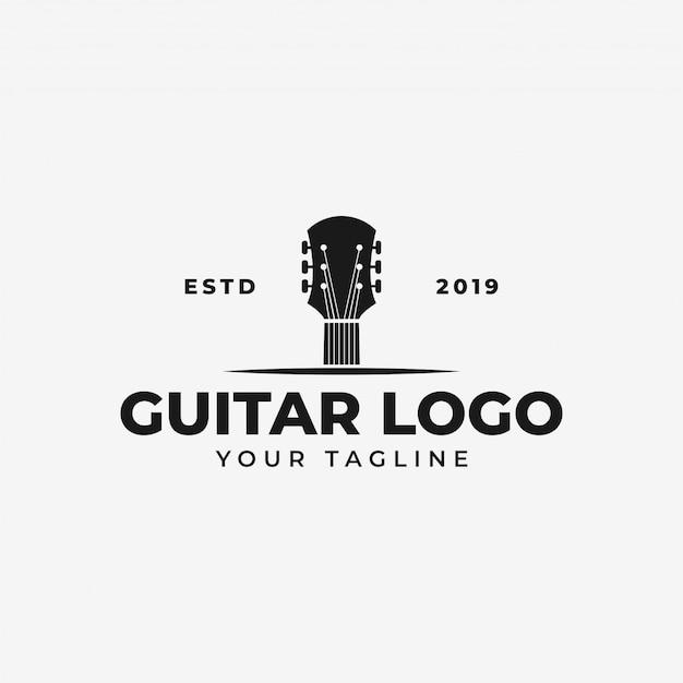 Gitaar logo sjabloon Premium Vector