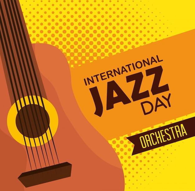 Gitaarinstrument naar internationaal jazzfestival Gratis Vector