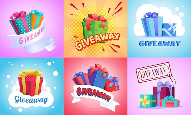 Giveaway illustratie set Gratis Vector