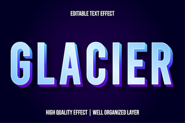 Glacier modern text effect style Premium Vector