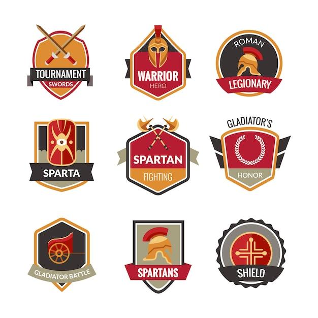 Gladiator emblemen set Gratis Vector