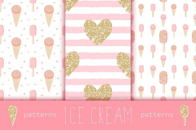 Glamour naadloze patronen met gouden hart en ijsjes Premium Vector