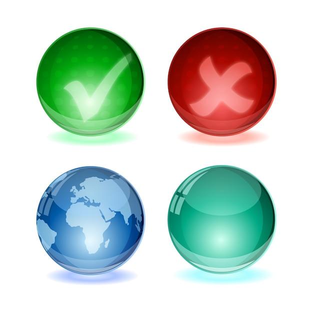 Glans bal concept wereldbol en vinkje pictogramserie Premium Vector