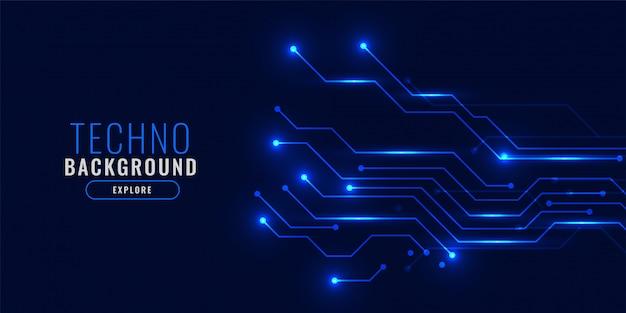 Glanzend blauw technologie achtergrondconcept Gratis Vector