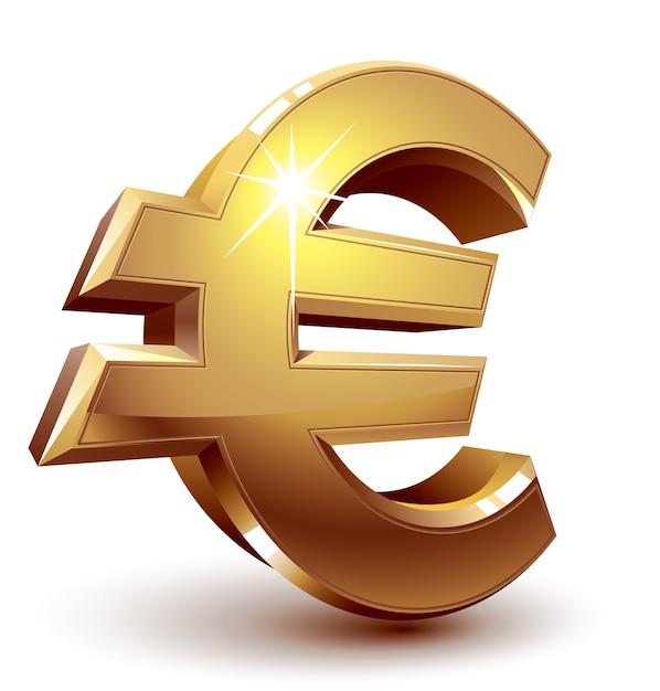 Glanzend gouden eurosymbool. georganiseerd door lagen. globale kleuren. verlopen gebruikt. Premium Vector
