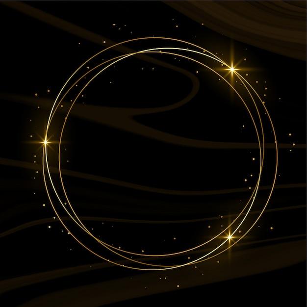 Glanzend gouden frame met glitters en rook Gratis Vector