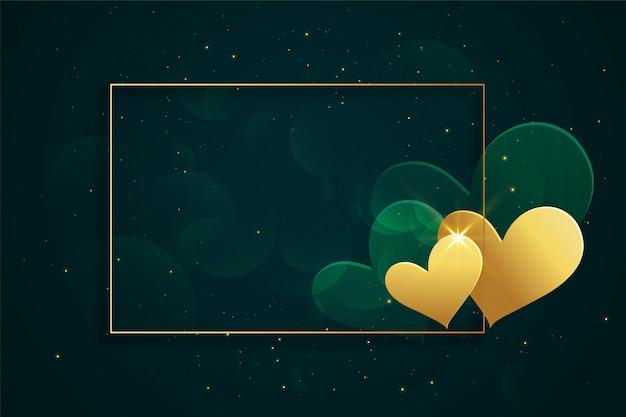 Glanzend gouden hartenkader met tekstruimte Gratis Vector