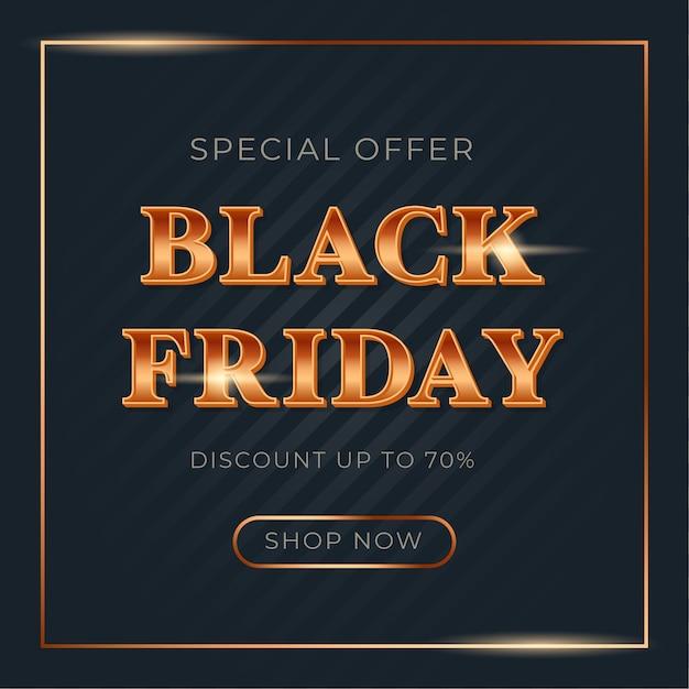 Glanzend verloop goud lettertype voor black friday-verkoopbanner Premium Vector