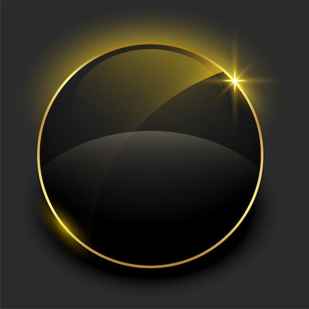 Glanzend zwart en gouden leeg kader Gratis Vector
