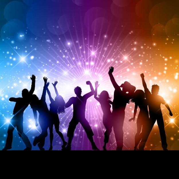 Glanzende achtergrond met dansende mensen silhouetten Gratis Vector