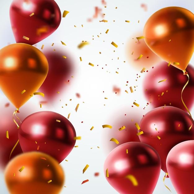 Glanzende ballonnen en confetti achtergrond Gratis Vector