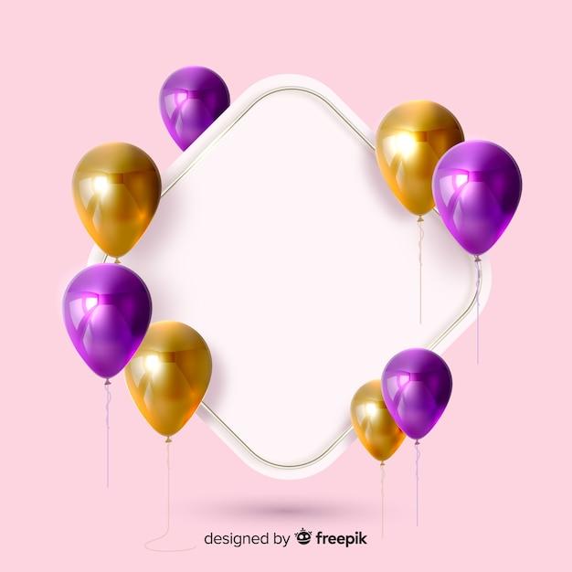 Glanzende ballonnen met lege banner 3d effect op roze achtergrond Gratis Vector