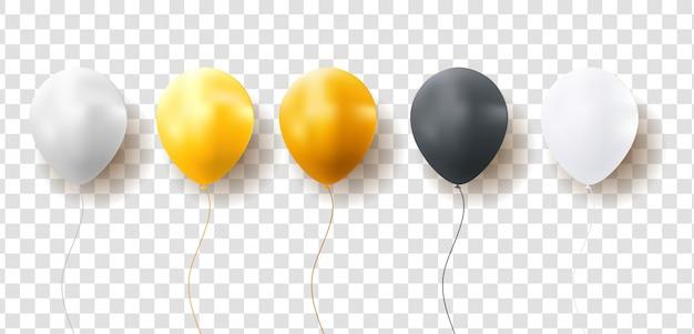 Glanzende ballonnen op transparante achtergrond Premium Vector