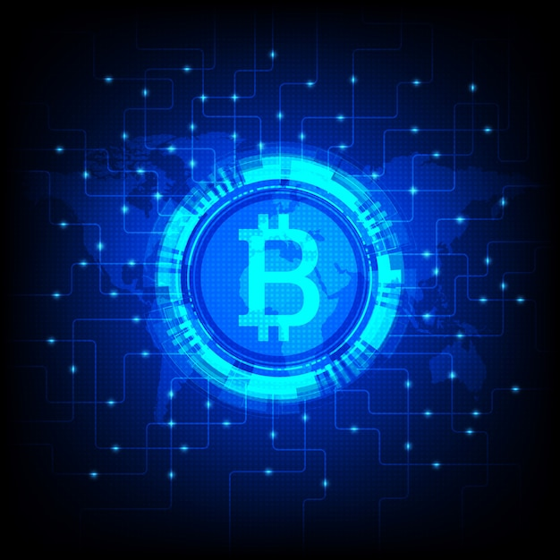 Glanzende bitcoin illustratie Premium Vector