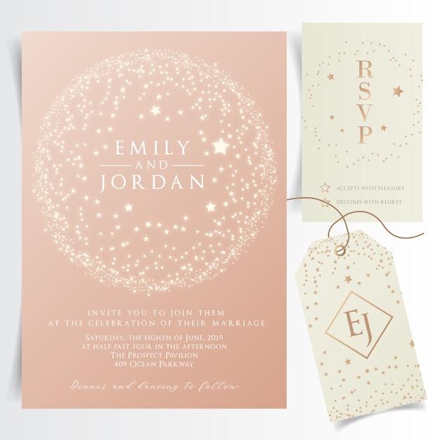 Glanzende bruiloft uitnodigingskaart met circulaire vliegende sterren frame Premium Vector