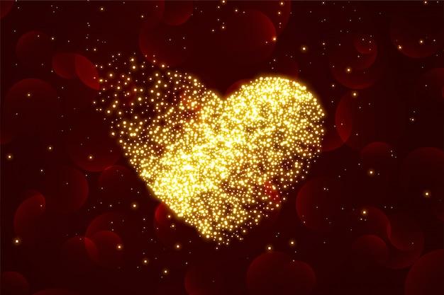 Glanzende deeltje harten achtergrond voor valentijnsdag Gratis Vector
