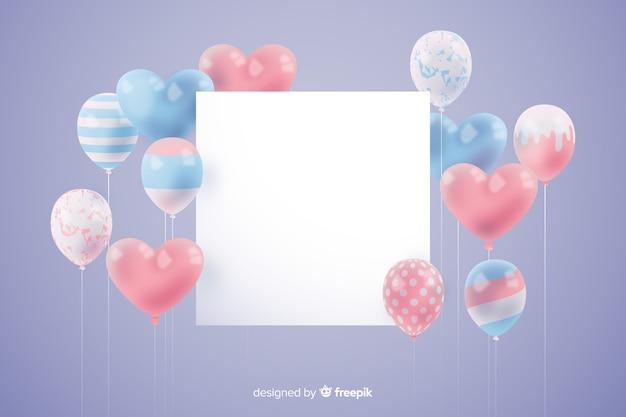 Glanzende driedimensionale ballonachtergrond met lege banner Gratis Vector