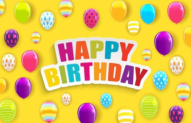 Glanzende gelukkige verjaardag ballonnen achtergrond vectorillustratie Premium Vector
