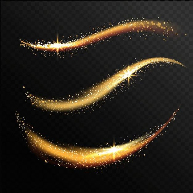 Glanzende glittergolfcollectie Gratis Vector