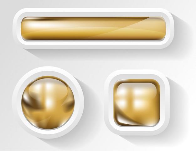 Glanzende gouden knop in wit frame Premium Vector