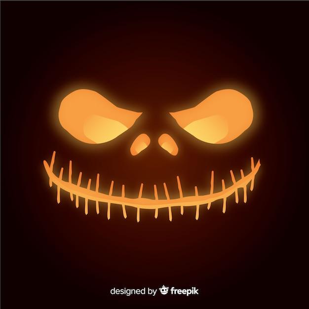 Glanzende halloween-pompoengezichtsachtergrond Gratis Vector
