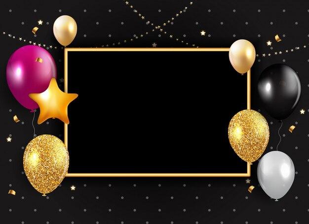 Glanzende happy birthday ballonnen achtergrond Premium Vector