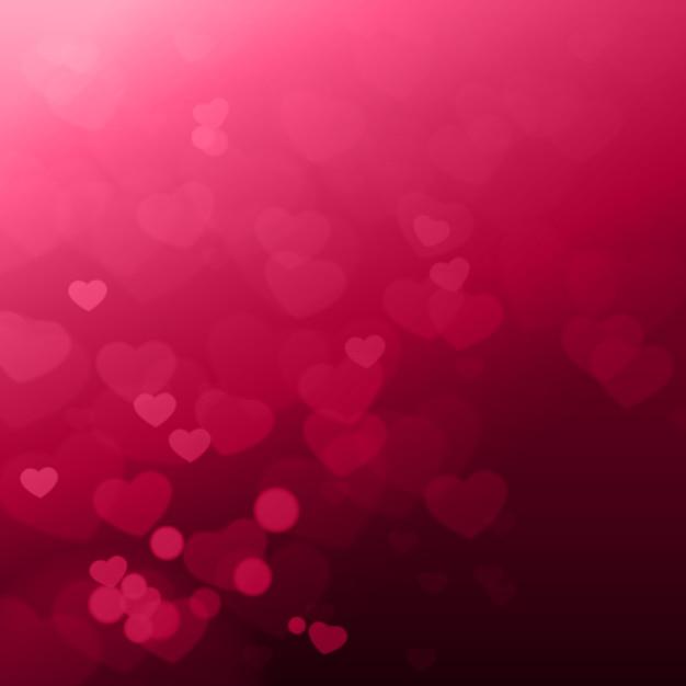 Glanzende harten bokeh mooie valentines bay achtergrond Premium Vector