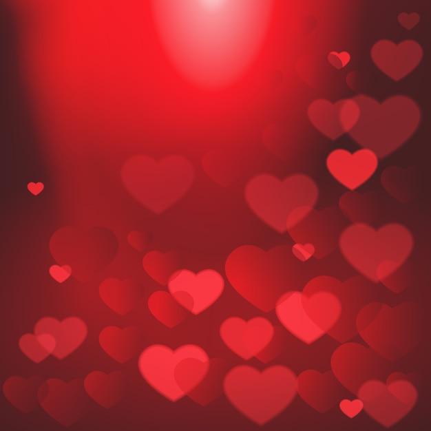 Glanzende harten bokeh valentine dag achtergrond sjabloon poster Premium Vector