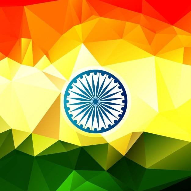 Glanzende indische vlag in veelhoekige ontwerp Gratis Vector