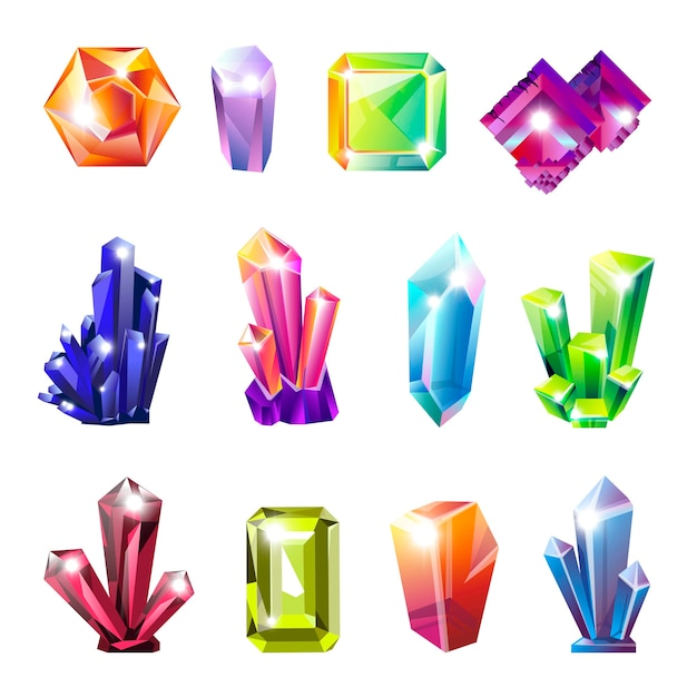 Glanzende kostbare natuurlijke kristallen in alle vormen Premium Vector