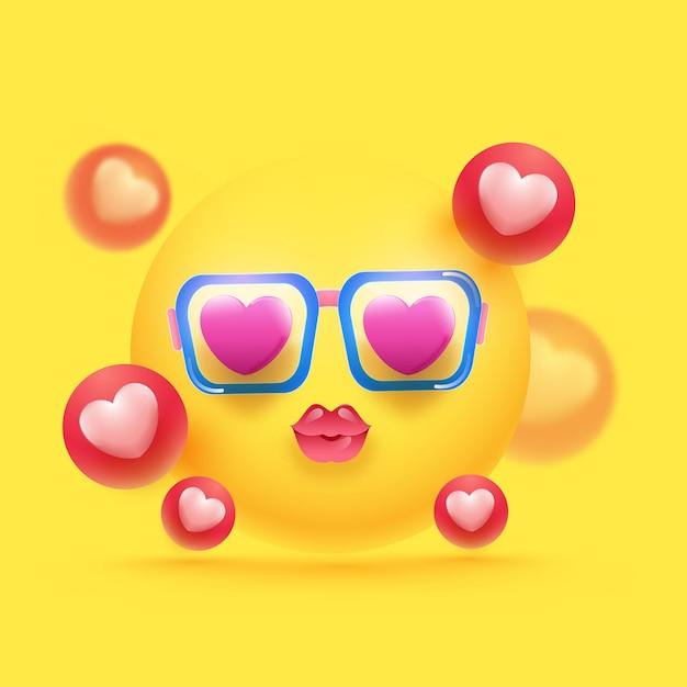 Glanzende liefde emoji dragen bril en 3d-hartballen versierd op gele achtergrond. Premium Vector