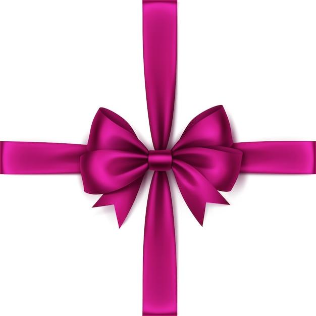Glanzende magenta donker roze satijnen strik en lint bovenaanzicht close-up geïsoleerd Premium Vector