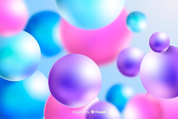 Glanzende plastic kleurrijke ballenachtergrond Gratis Vector