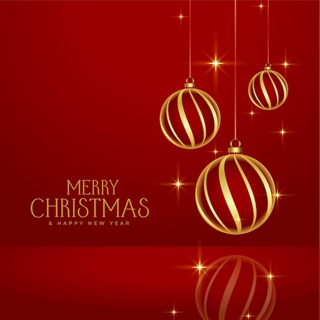 Glanzende rode merry christmas gouden kerstballen achtergrond Gratis Vector