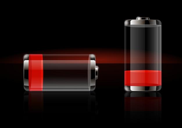 Glanzende transparante batterijpictogrammen Premium Vector