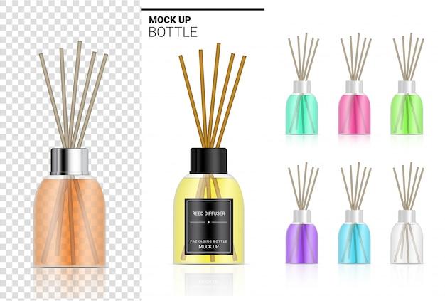 Glanzende transparante rietverspreider fles met parfumolie productbranding reclame met pastelkleur. ontspan koopwaar achtergrondillustratie. Premium Vector