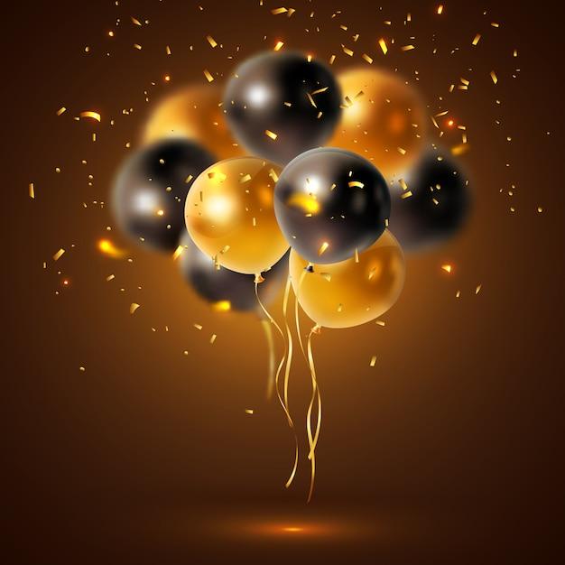 Glanzende vakantie ballonnen samenstelling Gratis Vector