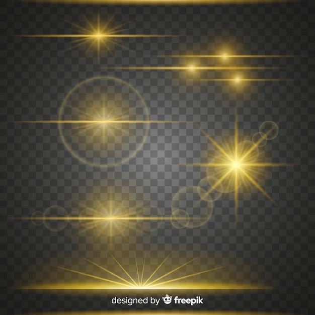 Glanzende verzameling lichteffecten Gratis Vector