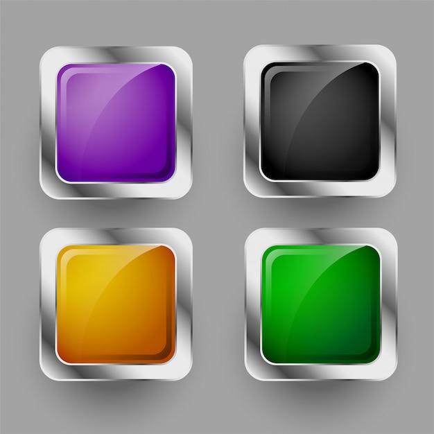 Glanzende vier afgeronde vierkante knoppen set Gratis Vector