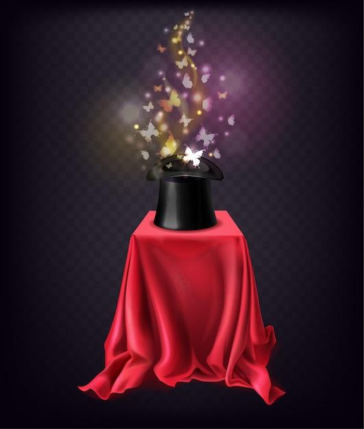 Glanzende vlinders vliegen uit zwarte hoge hoed staan op stand bedekt met rode zijden cape Gratis Vector