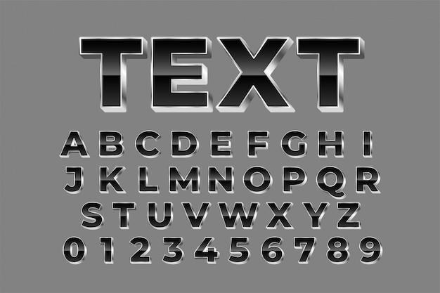 Glanzende zilveren alfabetten instellen teksteffect Gratis Vector