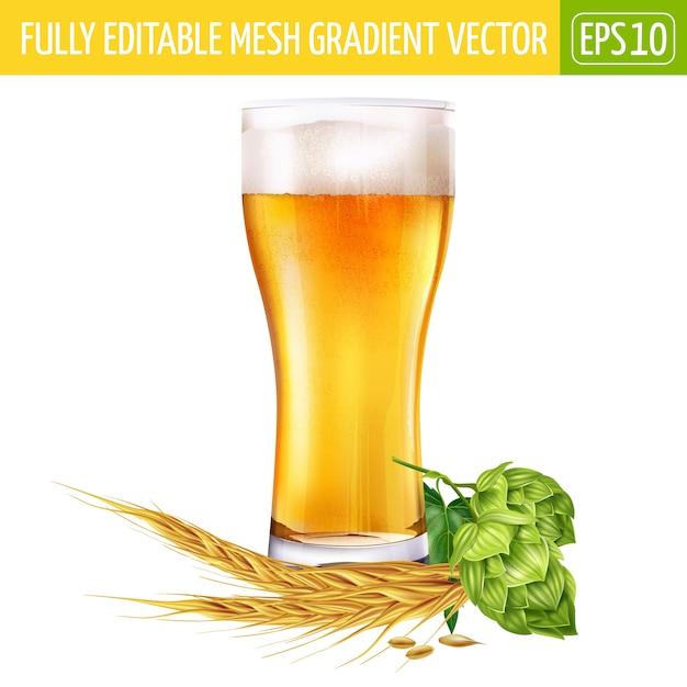 Glas bier en hopillustratie op wit Premium Vector